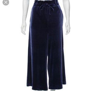 NWT Cynthia Rowley Cropped Wide Leg Velvet Pants